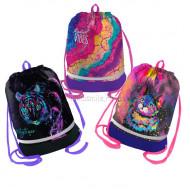 Мешок для обуви 1 отделение Berlingo, 510*400мм, расшир. дно, светоотр. лента, карман на молнии для дев.